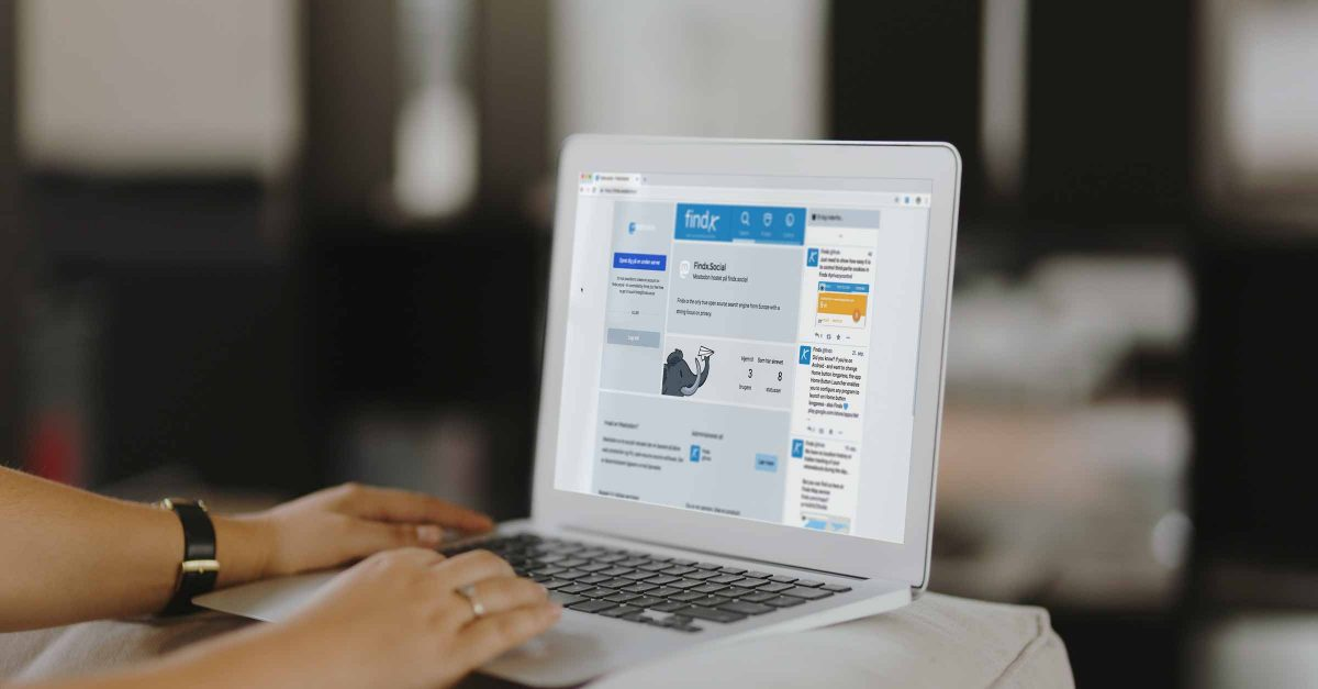 Findx.social on a laptop