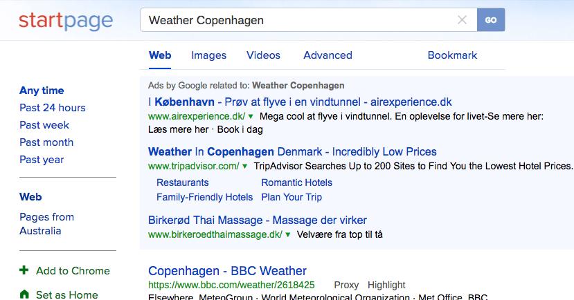 StartPage (no instant weather info)