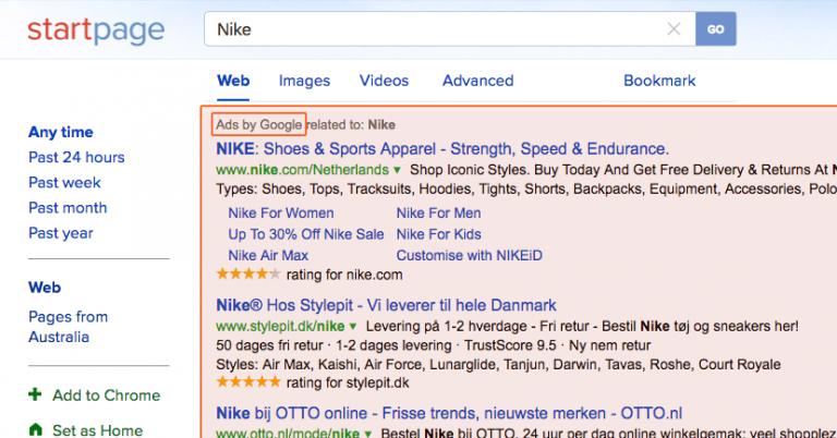 Startpage ads