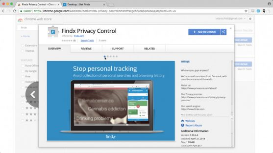Findx Privacy control for Chrome