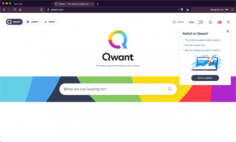 Qwant extension install in Brave