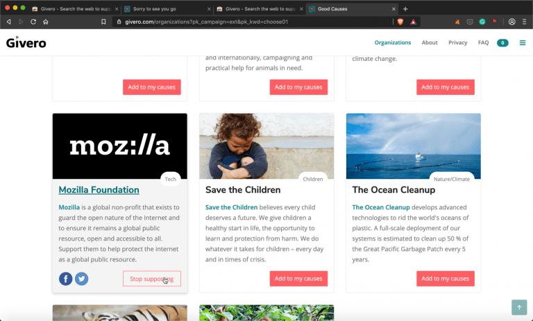 7) Selecting Mozilla will donate money to the Mozilla Foundation